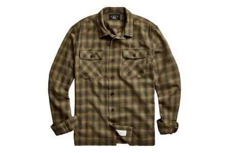 RRL Plaid Twill Camp Shirt - Olive
