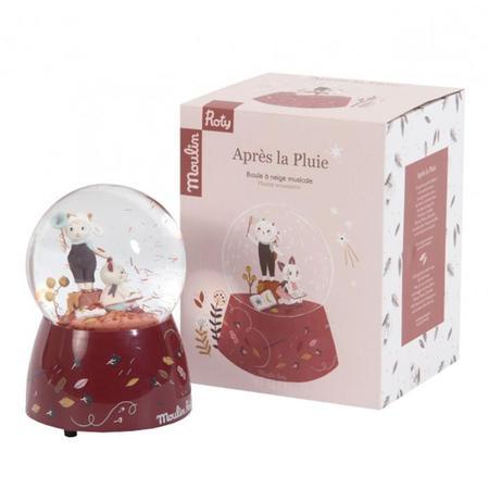 Kids Moulin Roty Aprés La Pluie Musical Snow Globe - Red