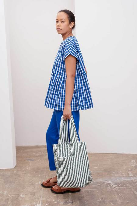 Kowtow Form Top - blue/white check