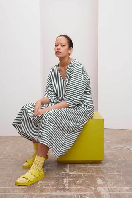 Kowtow Sculptured Dress - green/white stripe