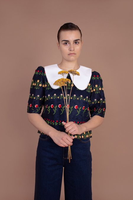 Meadows Hawthorn Top - Flower Stripe Embroidery