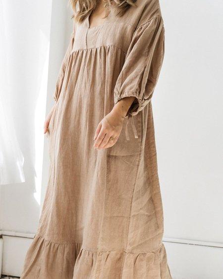 Paysanne Dress   Tan Linen