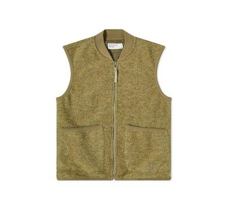 Universal Works Wool Fleece Zip Waistcoat vest - Olive