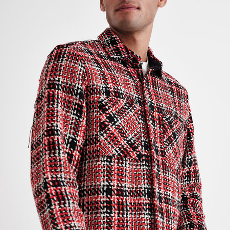 Wax London Whiting Overshirt Red & Black Lumberjack Plaid-Neutral