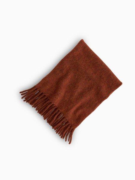 Oversized Brushed Wool Scarf - Burnt Orange