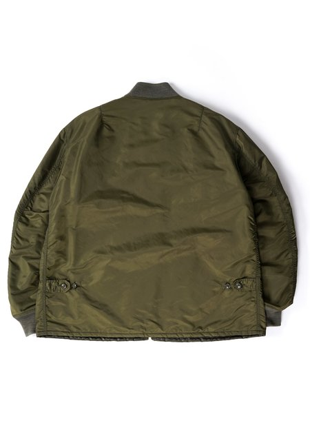 Engineered Garments Flight Satin Nylon Aviator Jacket - Olive