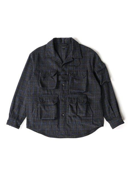 Engineered Garments Poly Wool Glen Plaid Explorer Shirt Jacket - Dark Grey/Blue