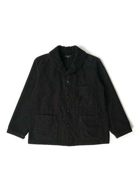 Engineered Garments Polyester Fake Melton Shawl Collar Jacket - Black