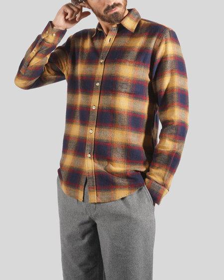Portuguese Flannel Hill Plaid Long Sleeve Shirt - Navy/Mustard