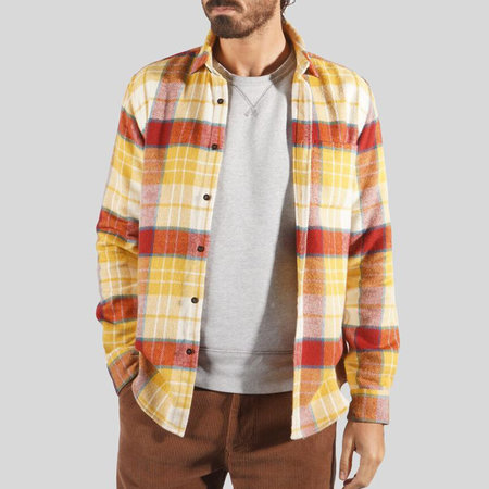 Portuguese Flannel Happy Check Long Sleeve Shirt - Mustard/Rust