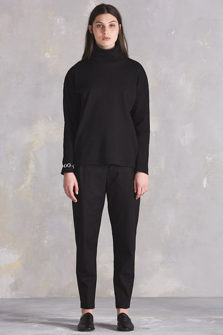 Kowtow Building Block Rib Roll Neck Top (Black)