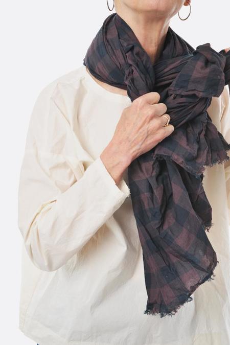 Manuelle Guibal Scarf - Dark Brown Plaid