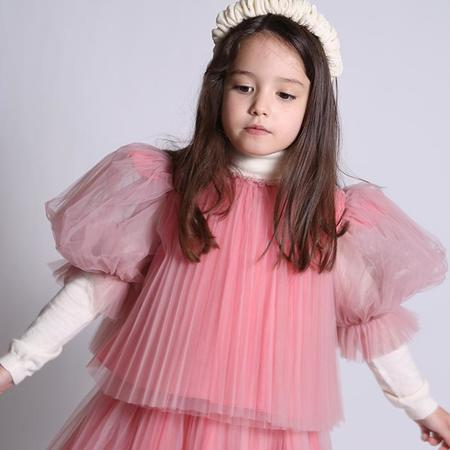 Kids  Tia Cibani Child Crush Pleated Smock Blouse - Gumball Pink