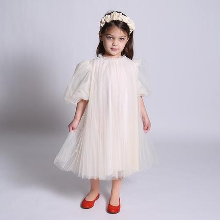 Kids  Tia Cibani Child Crush Pleated Smock Dress - Opal Cream
