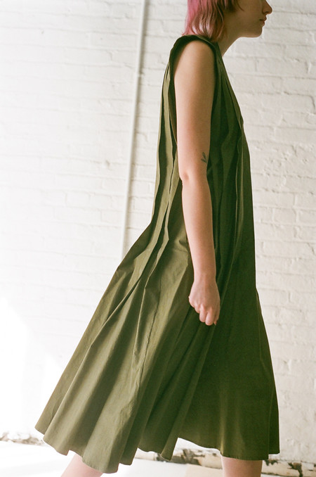 Hache Pleated Dress in Green