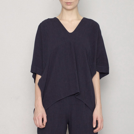 7115 by Szeki V-Neck Dolman Top - Navy