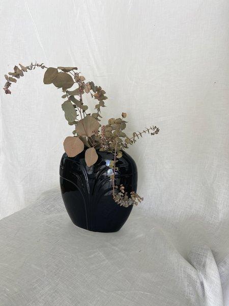Vintage Art Deco Oval Vase - Black