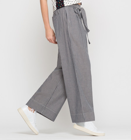 Kowtow Bay Wide Leg Pant Chambray Stripe