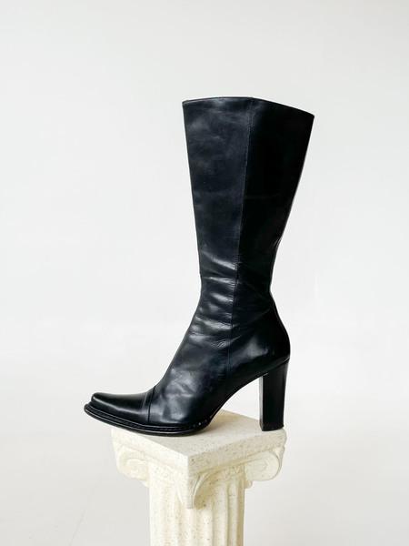 Black Pointy Heeled Cowboy Boot-Black