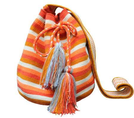 Shop Mariya Orange Stripes Mochila - M