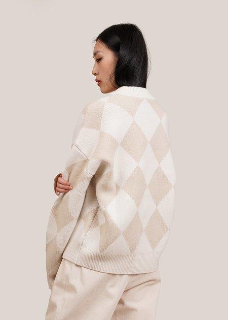 UNISEX AMOMENTO Jacquard Knit Sweater -  ivory/beige