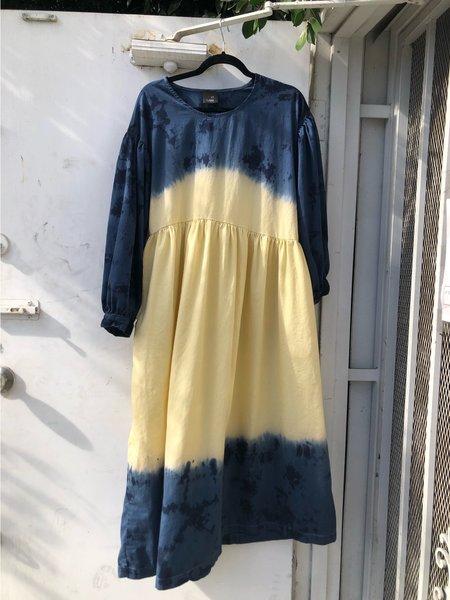 ET TIGRE Jayme Dress - Navy/Yellow dip dye