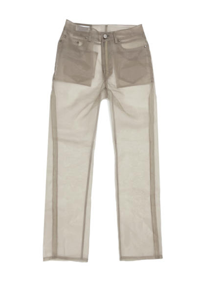604service Organza Sheer Pants - Taupe