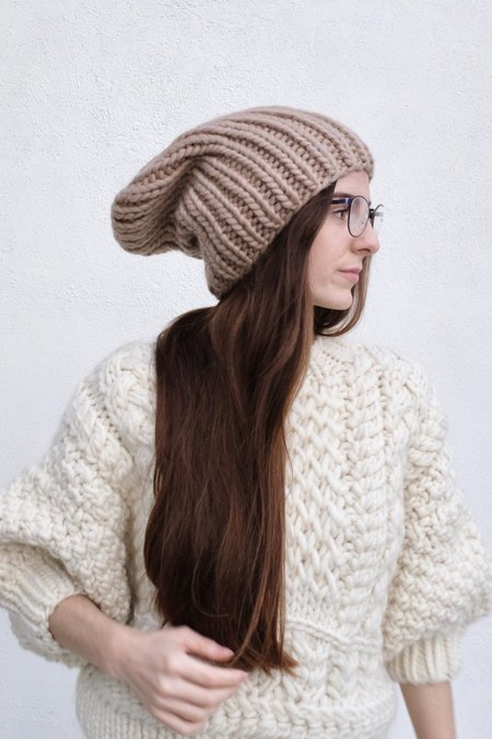 I Love Mr Mittens Ribble Beanie - Warm Taupe