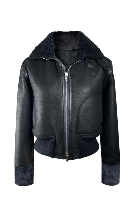 KES The Jove Aviator Shearling Jacket - Ash Black