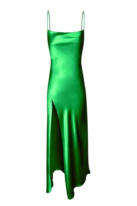 KES Juno Front Slit Slip Dress - Green Rose