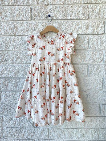 KIDS Pink Chicken JENNIFER DRESS - ANTIQUE WHITE SANTAS