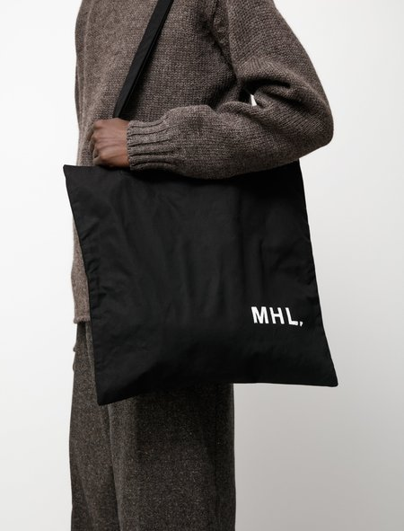 Margaret Howell MHL Shopper Bag - Washed Waxed Cotton Black