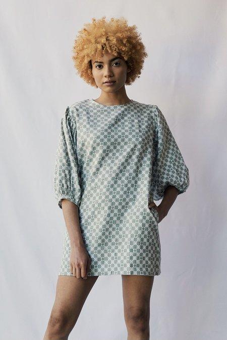 at Dawn. Sun Checkered Puff Sleeve Short Dress
