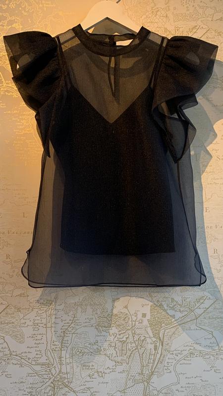 Jonathan Simkhai Corina Organza Ruffle Top - Black