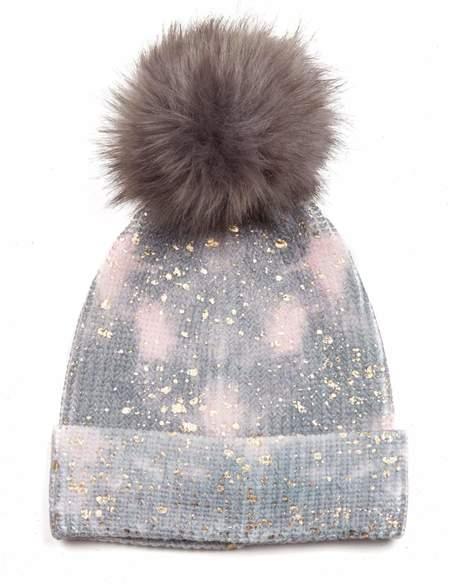 Jocelyn Tie Dye Splatter Metallic Faux Fur Pom Hat - Pink