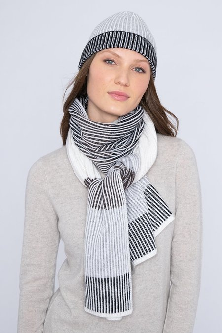 Heidi Says Plaited Colorblock Scarf - Black Multi