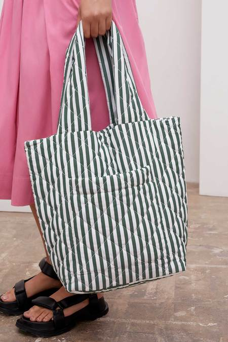 Kowtow Quilted Bag - Green/White Stripe