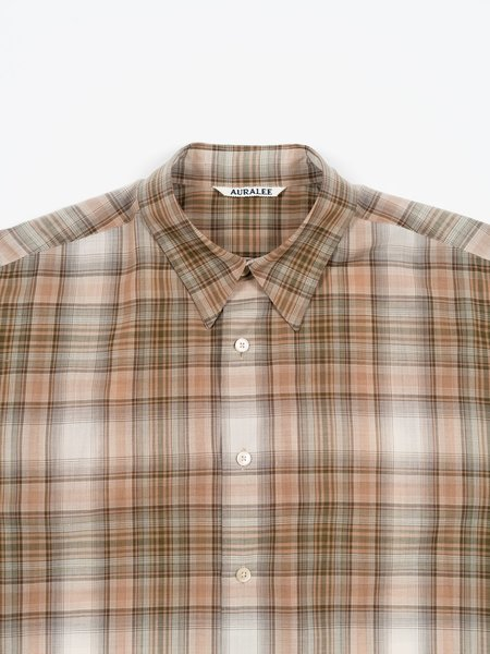 Auralee Wool Recycled Polyester Cloth Shirt - Beige Check