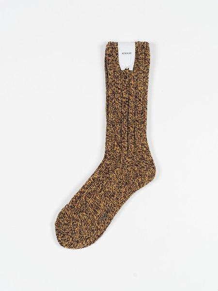 Auralee Wool Tweed Low Gauge Socks - Yellow/Burgundy
