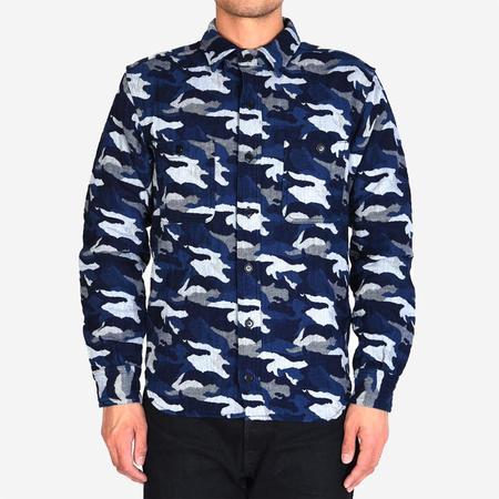 Momotaro Jeans Jacquard Camouflage Shirt - Indigo
