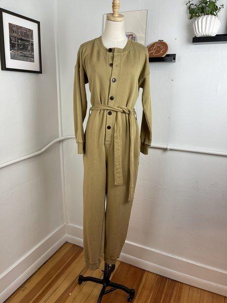 [Pre-Loved] Alex Mill French Terry Khaki Jumpsuit - Khaki