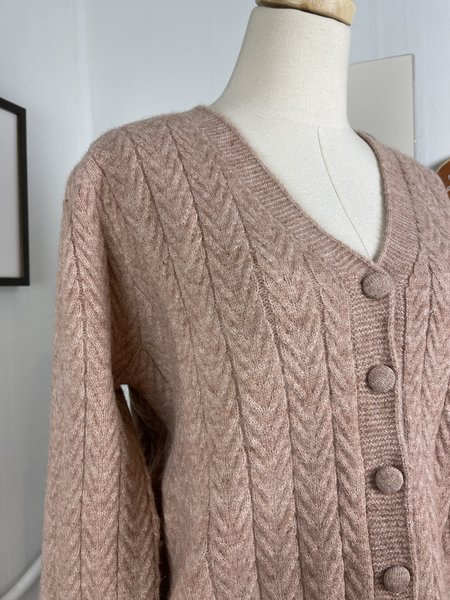 [Pre-Loved] FRNCH Pink Knit Cardigan - Pink