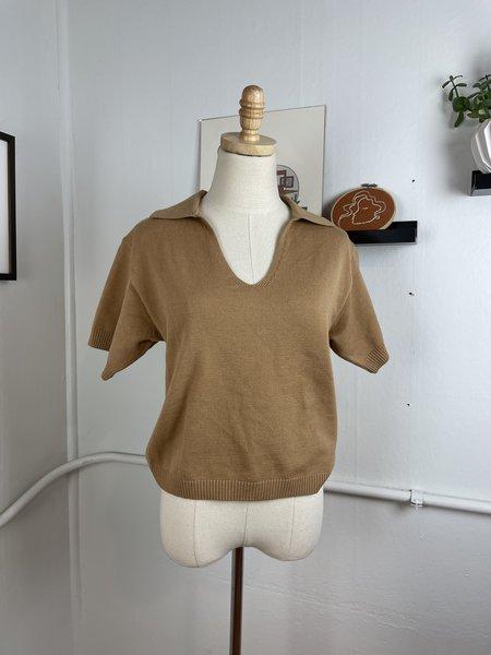 [Pre-Loved] Line & Dot Tan Knit Polo - Tan