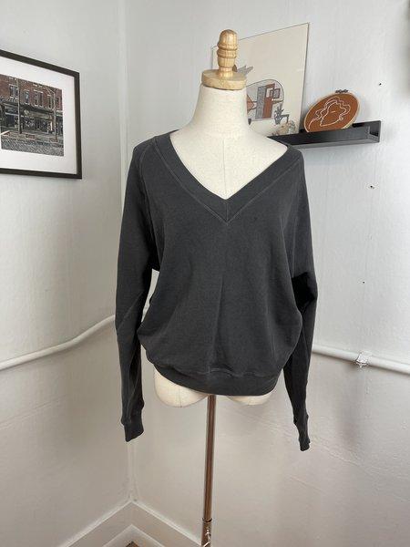 [Pre-Loved] The Great Deep V-Neck Sweatshirt - dark grey