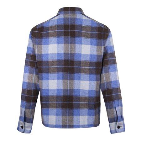 Kenzo Plaid Wool Blend Check Overshirt - Blue
