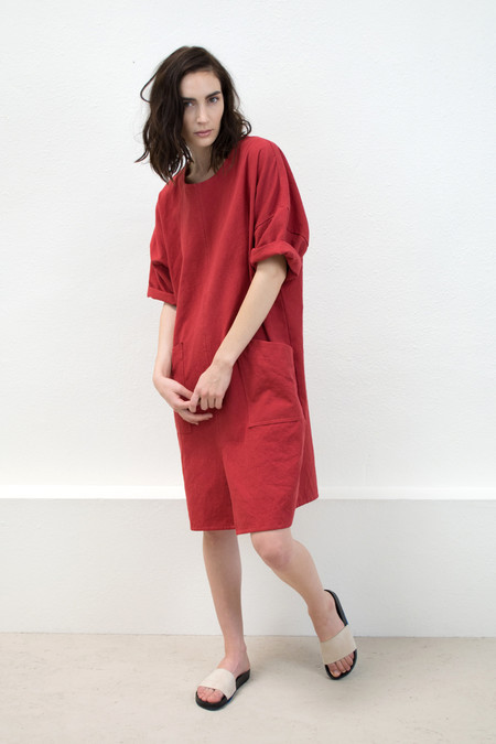 Micaela Greg Scarlet Notch Dress