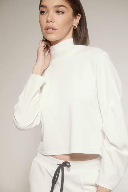 Lanston Sport Kenzie Puff Sleeve Turtleneck Top - Cream