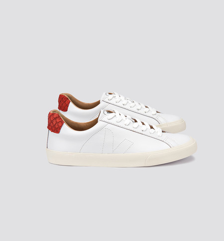 VEJA Esplar Leather Tilapia White Carmin