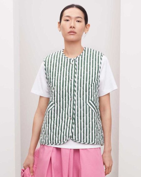 Kowtow Quilt Vest - Green/White Stripe