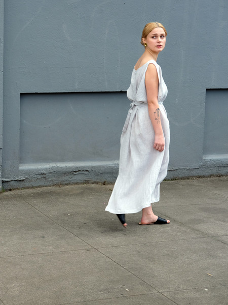 Sunja Link Drapped Dress in Silver Linen